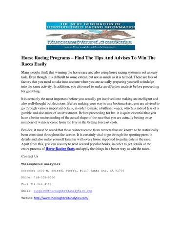 santa ana park racing race program betting tips