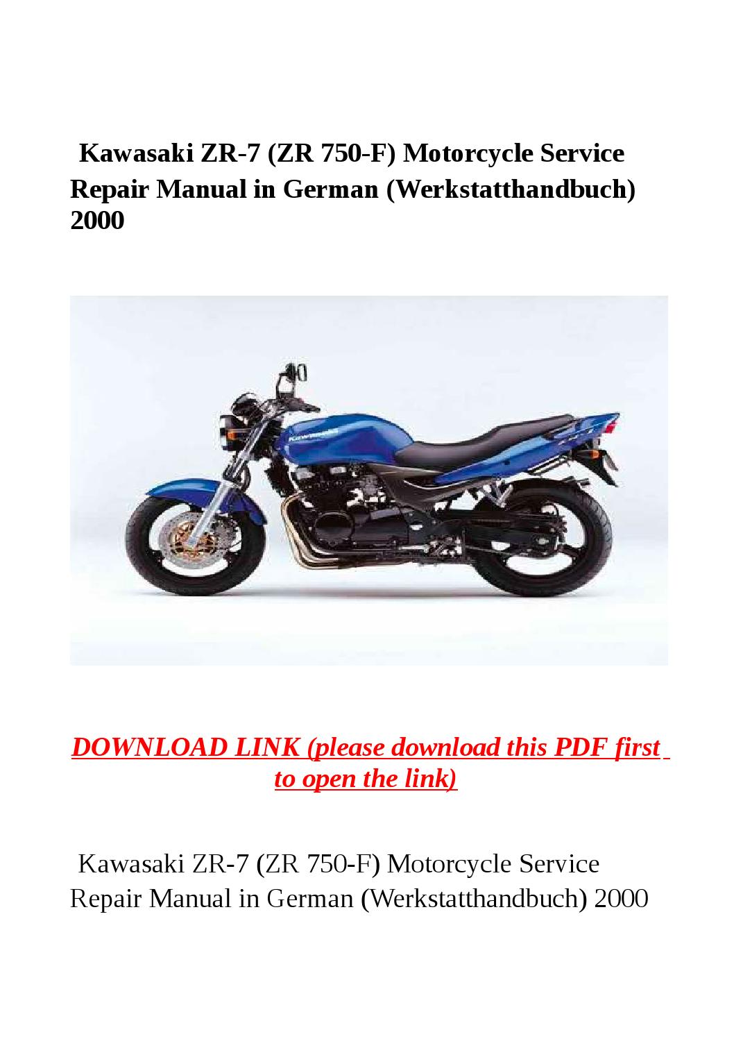 Kawasaki zr 7 (zr 750 f) motorcycle service repair manual in german  (werkstatthandbuch) 2000 by Dora tang - issuu
