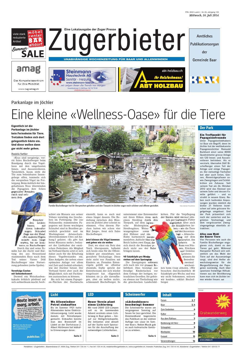 Zugerbieter 20140716 by Zuger Presse - Zugerbieter - issuu