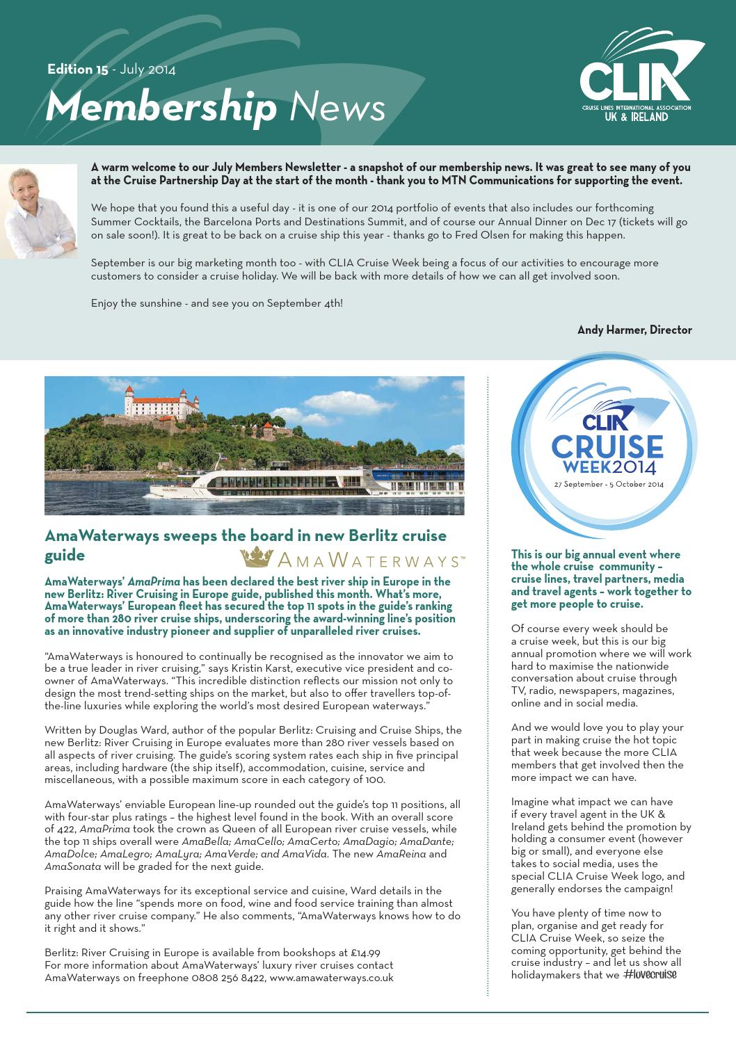 CLIA UK & Ireland Monthly Newsletter Edition 15 by Andy