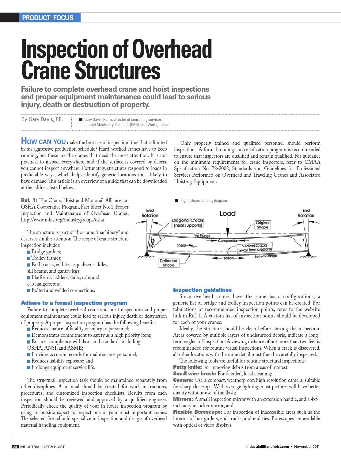 Ilh structural inspection of overhead cranes (gary j davis