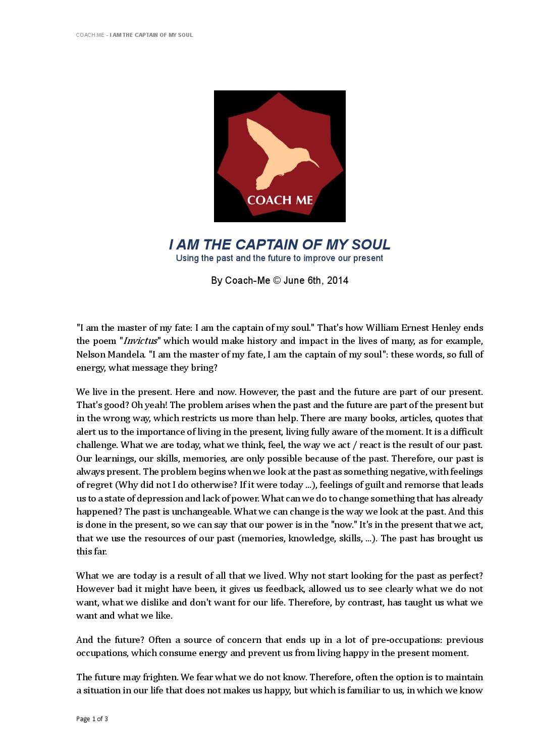 I Am The Captain Of My Soul By Coach Me Issuu