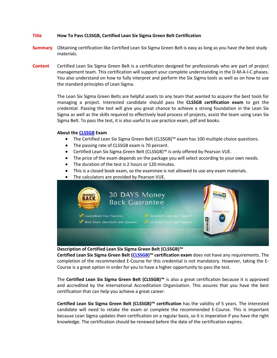 Clssgb Certification Test By Susanfisher10 Issuu