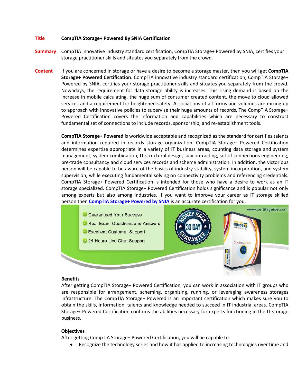 Comptia Storage Powered By Snia Certification By Susanfisher10 Issuu