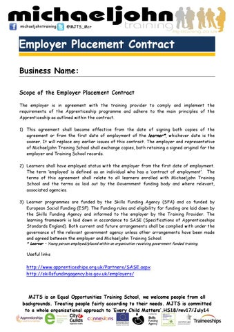 Hs18 Employer Placement Contract Rev 17 July 14 By Steven Delahunty