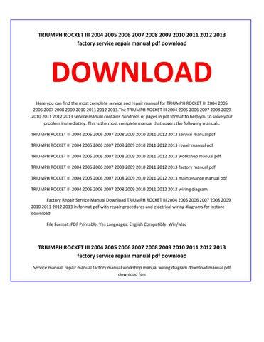 triumph rocket iii 2004 2005 2006 2007 2008 2009 2010 2011 2012 2013  factory service repair manual pdf download