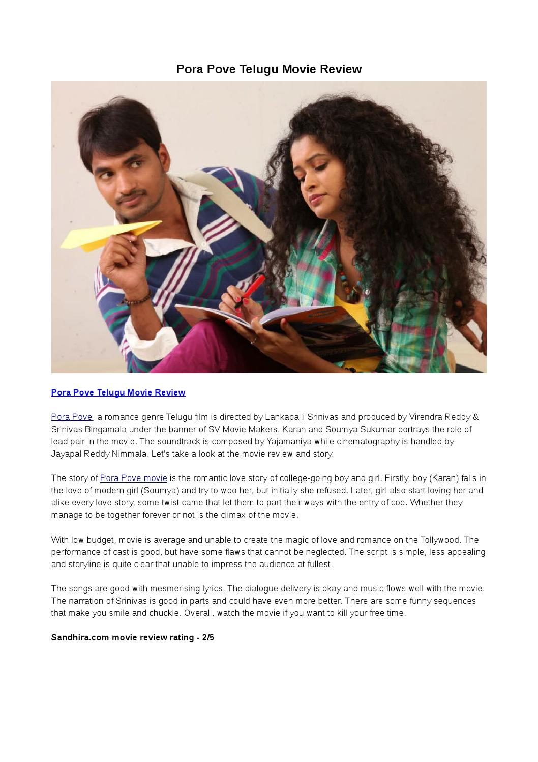 Pora Pove Telugu Movie Review By Entsandhira Issuu