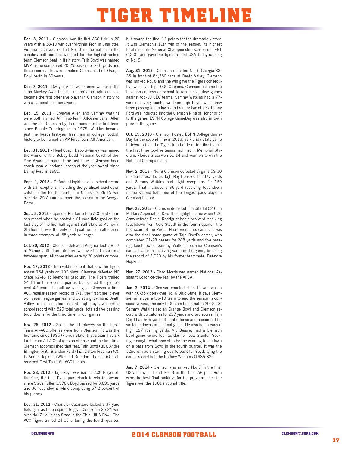 2014 Clemson Football Media Guide Supplement by Clemson