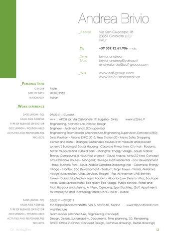 Andrea Brivio Cv Resume - Selected Projects - Book portfolio by ...