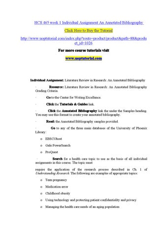 hcs 465 week 1 annotated bibliography