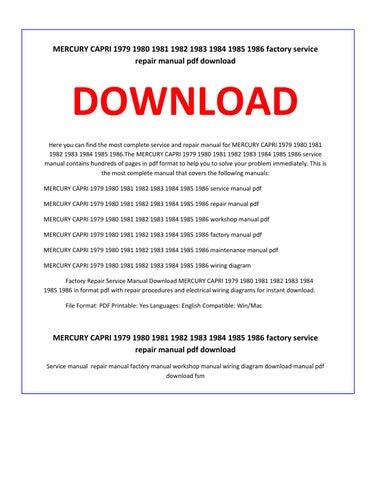 mercury capri 1979 1980 1981 1982 1983 1984 1985 1986 service repair manual