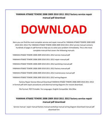 yamaha xt660z 2012 repair service manual