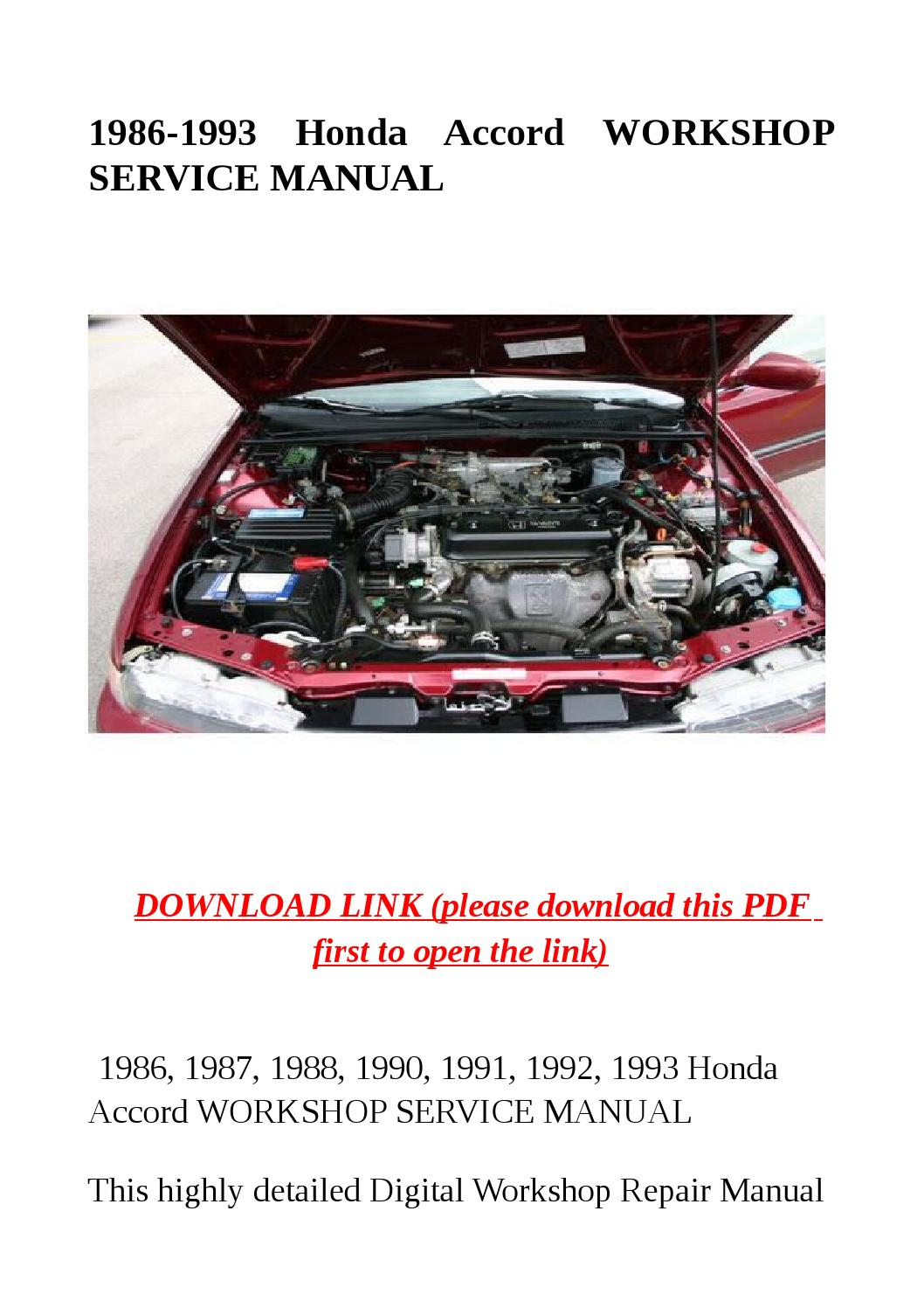 1986 1993 Honda Accord Workshop Service Manual By Dora