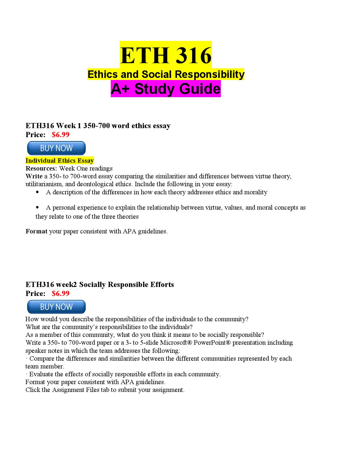 Eth 316 week 3 the responsibility project essay