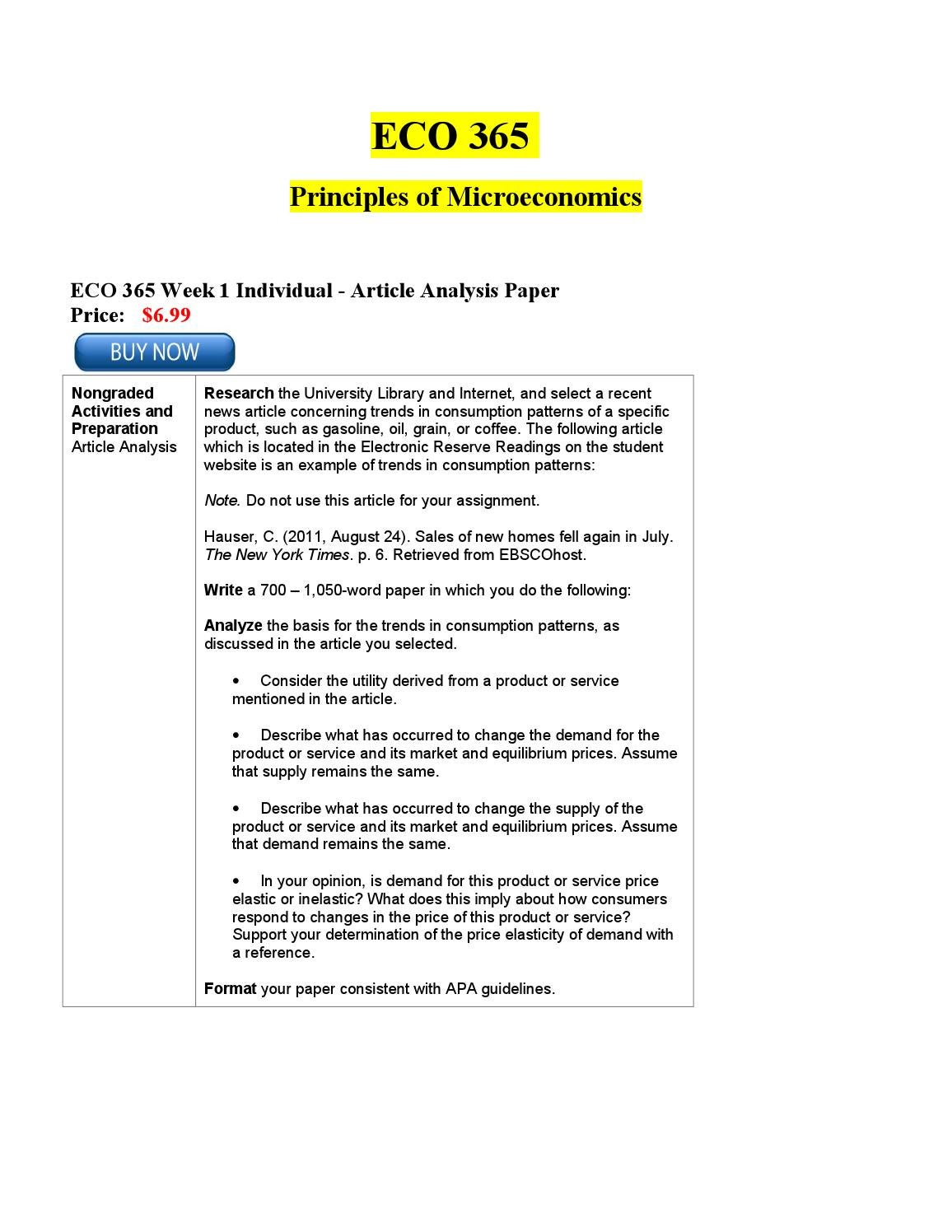 eco 365 article analysis paper Eco 365 principles of microeconomics eco 365 week 1 individual assignment: article analysis, trends in consumption pattern discussion questions 1, 2 and 3 eco 365 week 2 individual.