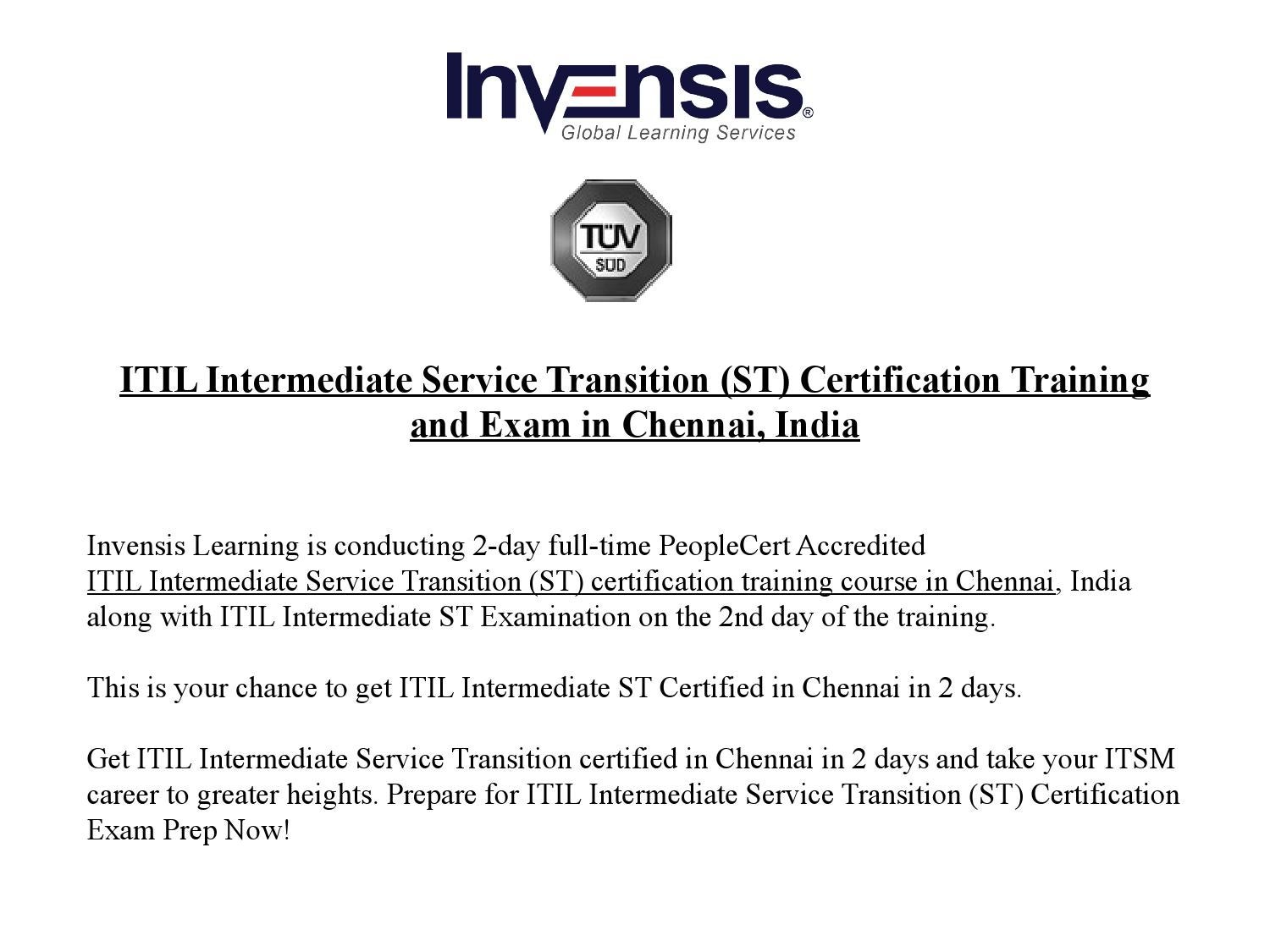 Itil Intermediate Service Transition St Certification Training And