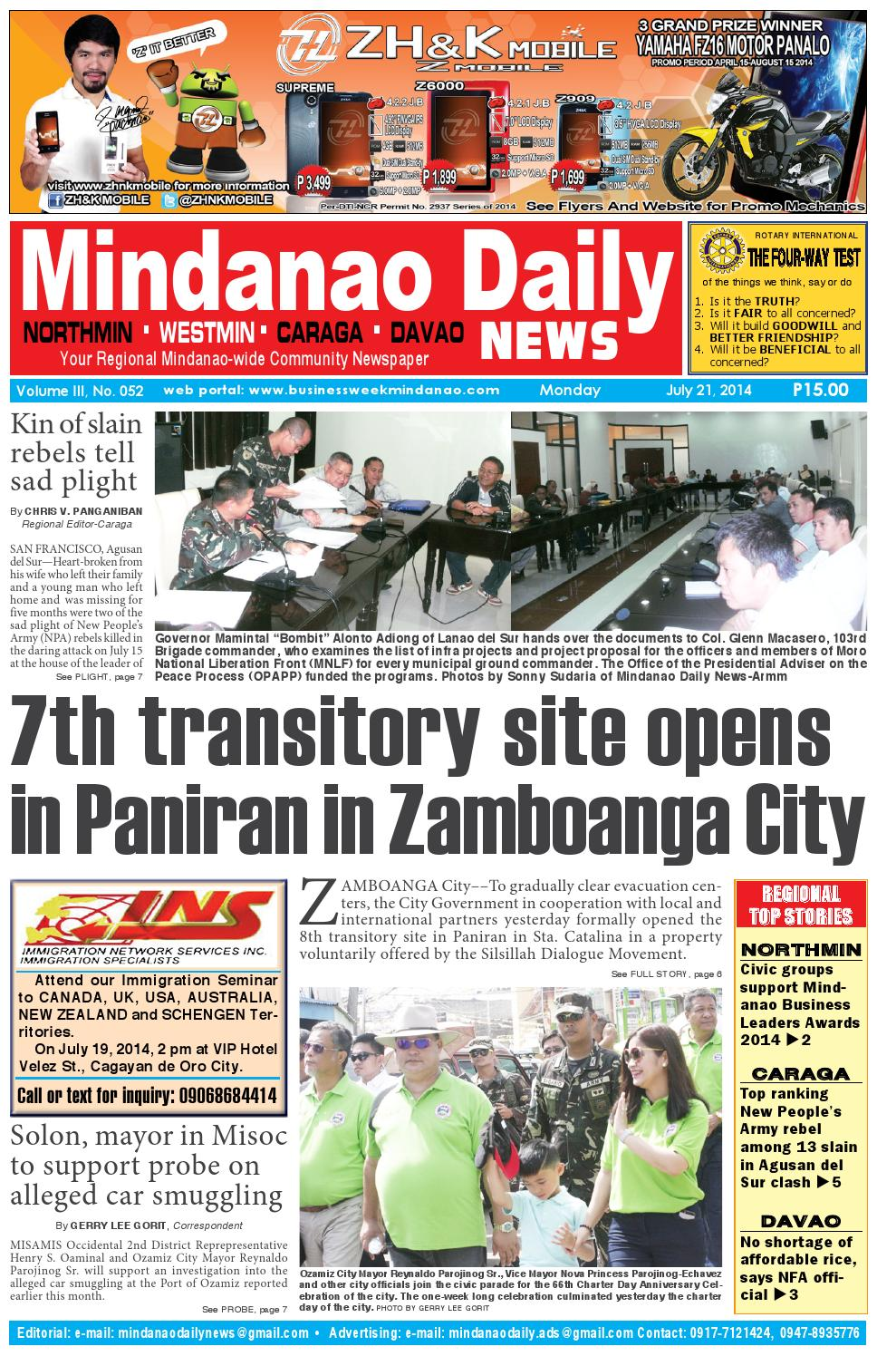 Mindanao Daily Westmin (July 21, 2014) by Mindanao Daily