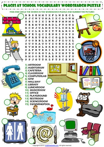 places at school wordsearch puzzle vocabulary worksheet by carla fernandes issuu. Black Bedroom Furniture Sets. Home Design Ideas
