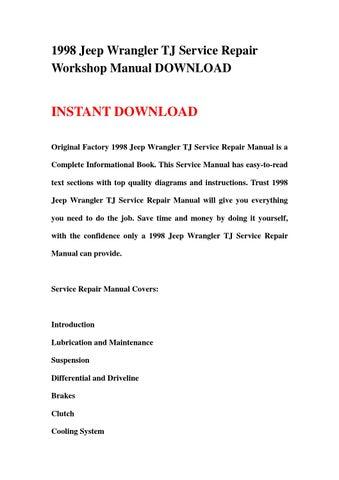 1998 jeep wrangler service repair manual