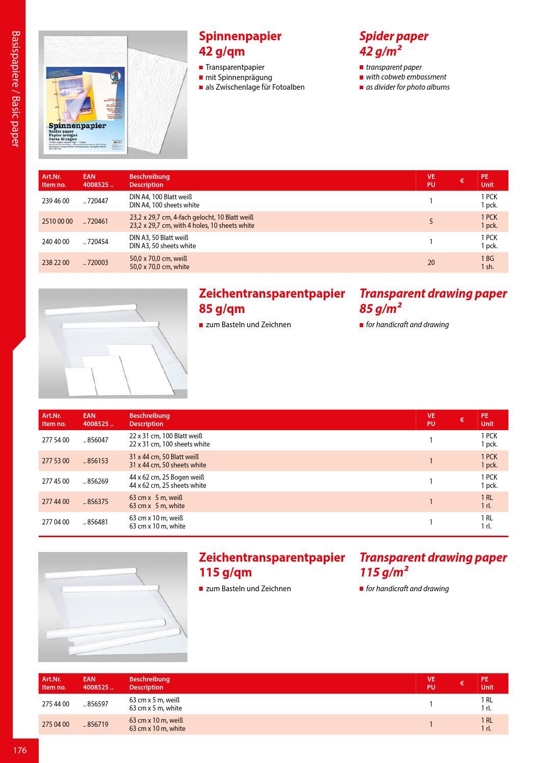 42 g//m² Spinnenpapier 100 Blatt Din A 4 weiß