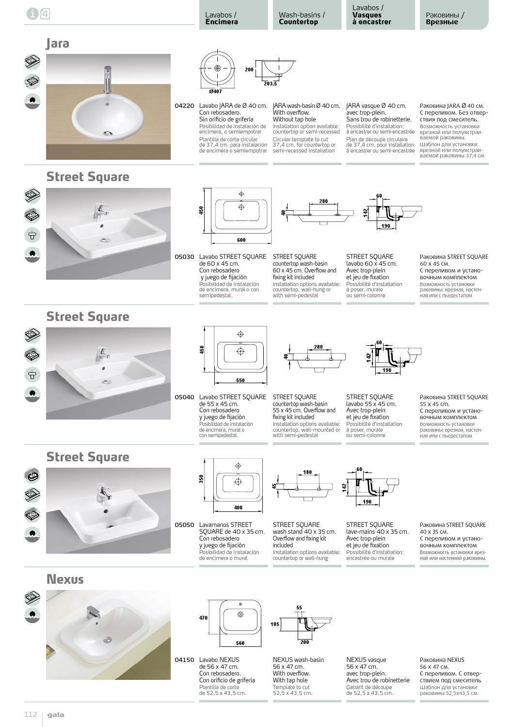 Lavabo 40 X 60.Gala General Catalogue 2014 By Iris Issuu