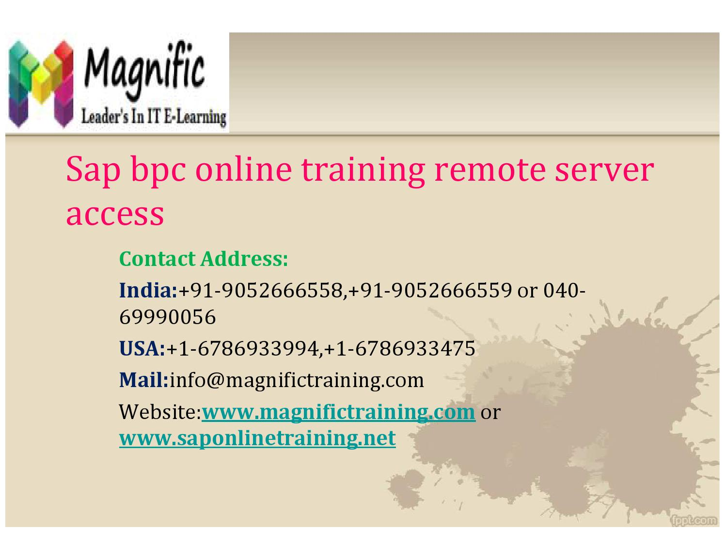 Sap bpc online training remote server access by magnificks