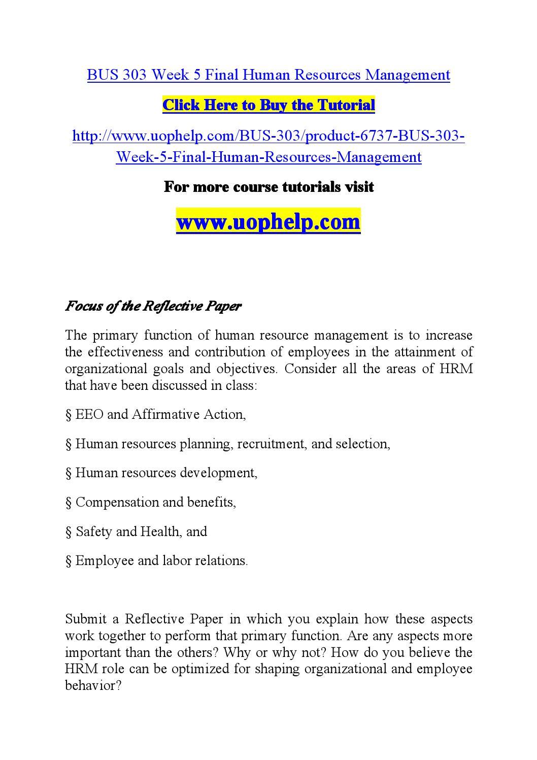 Bus303: Human Resources Management Final Paper Paper