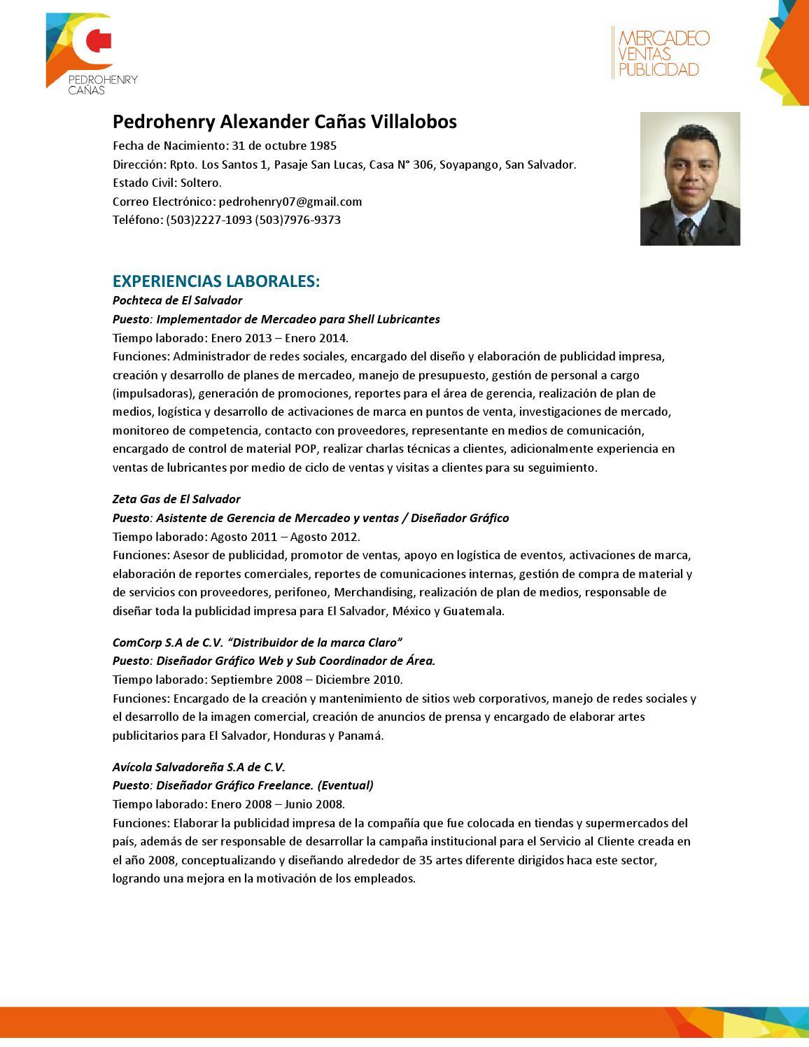 Curriculum Vitae - Pedrohenry Cañas by Henry Cañas - issuu