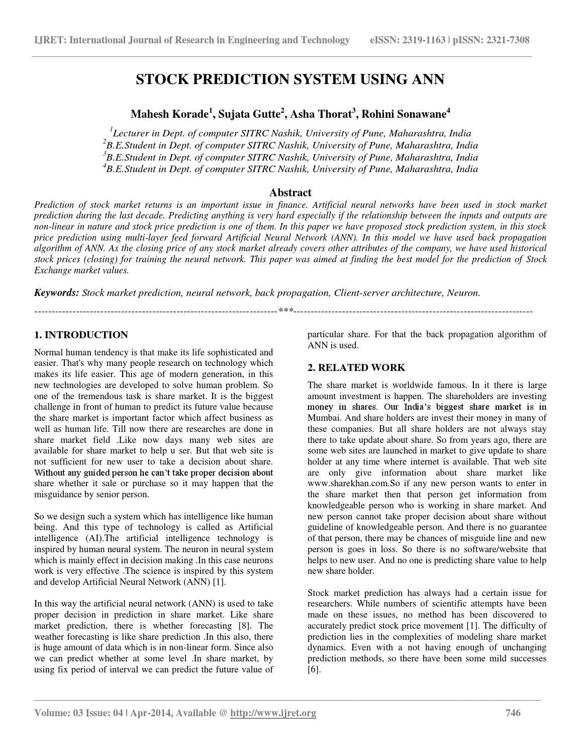 Stock prediction system using ann by IJRET Editor - issuu