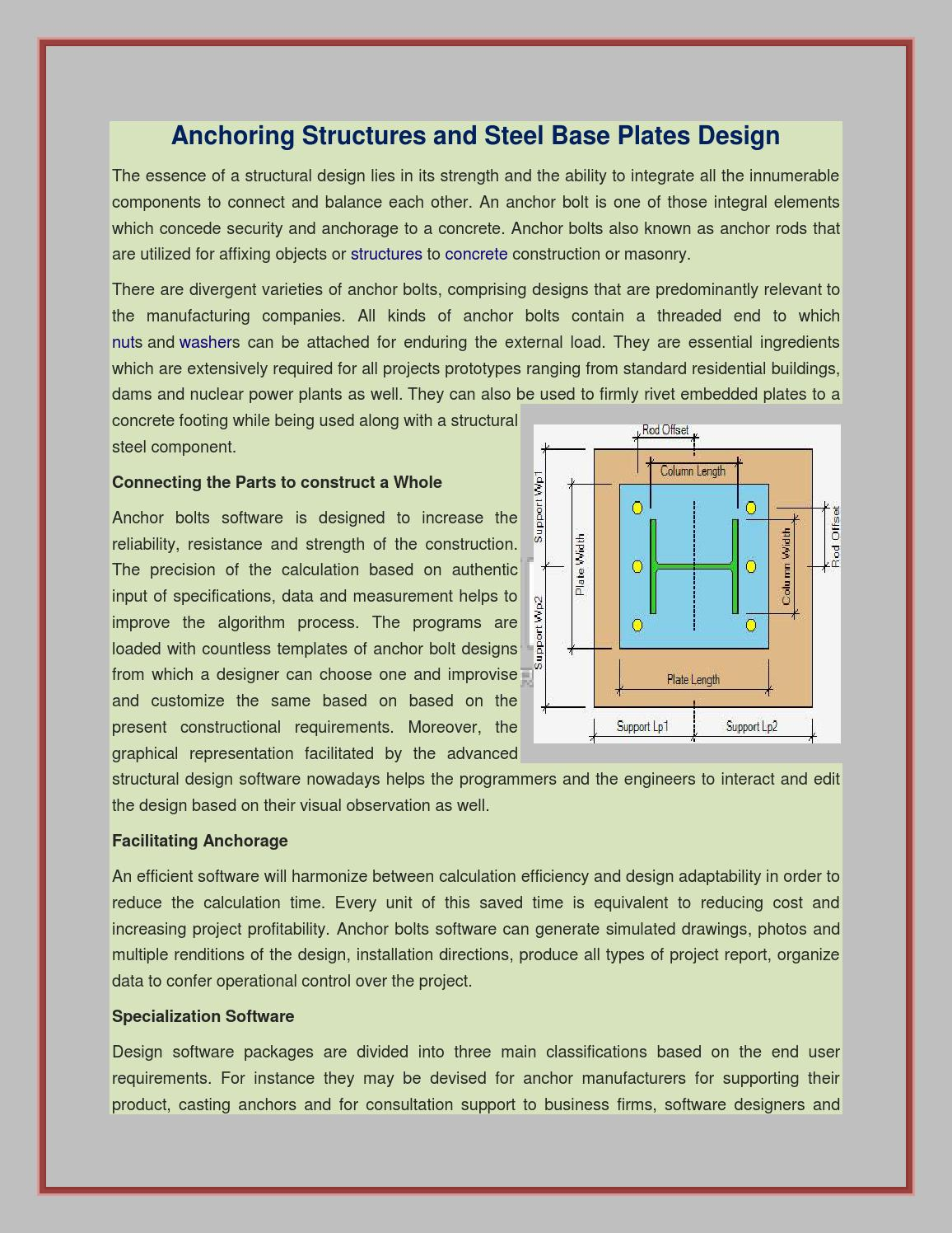 Anchoring Structures and Steel Base Plates Design by ASDIP
