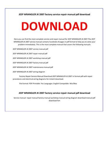 2007 jeep wrangler chilton manual pdf