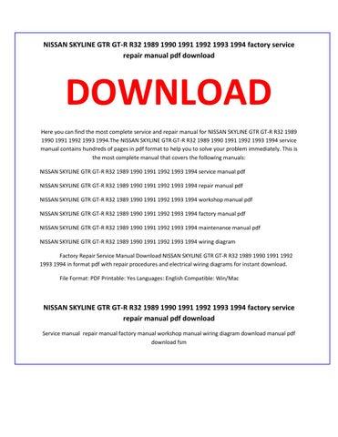 nissan skyline gtr gt r r32 1989 1990 1991 1992 1993 1994 service nissan maxima engine part diagram nissan skyline gtr gt r r32 1989 1990 1991 1992 1993 1994 factory service repair manual pdf download