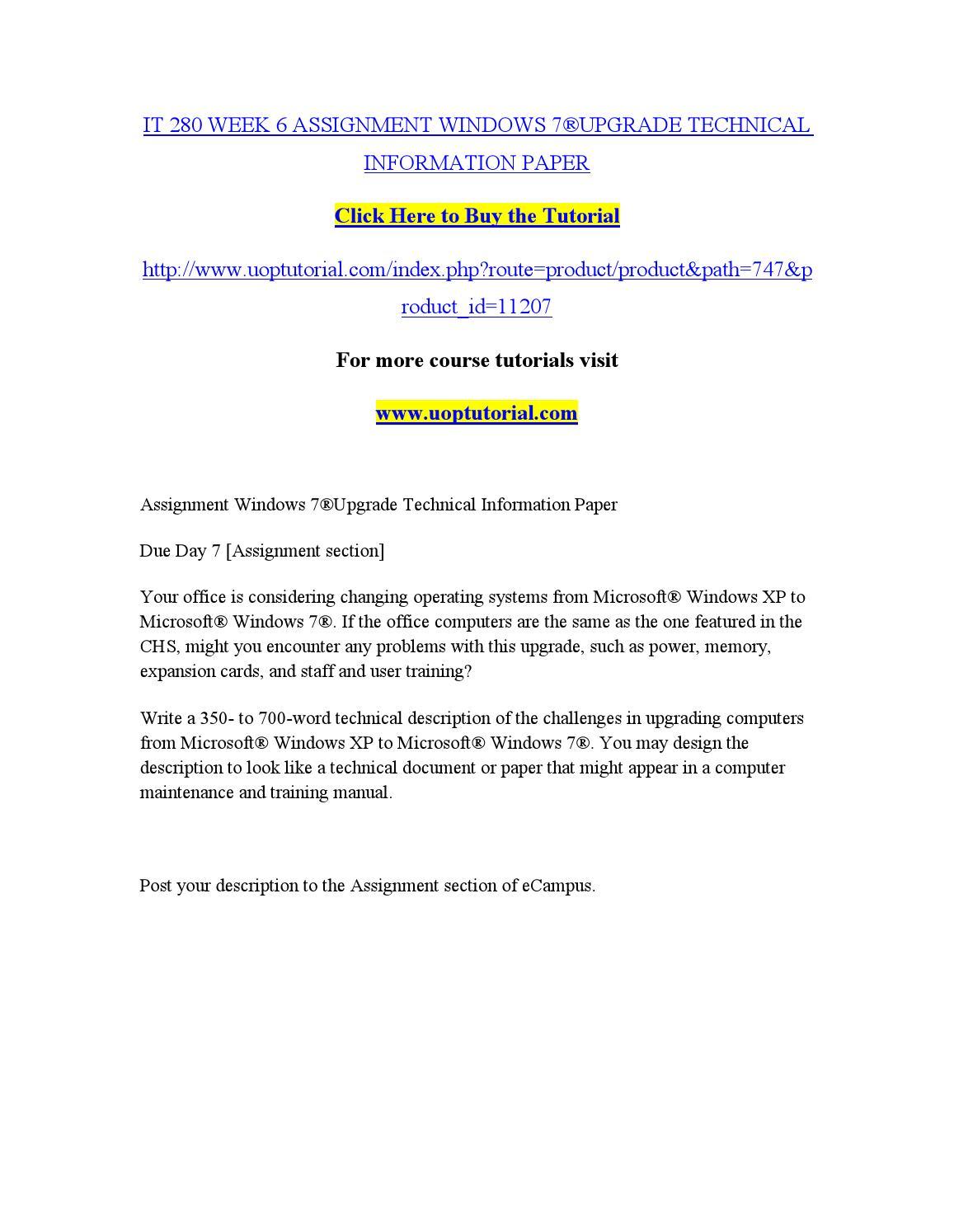 It 280 week 6 assignment windows 7®upgrade technical