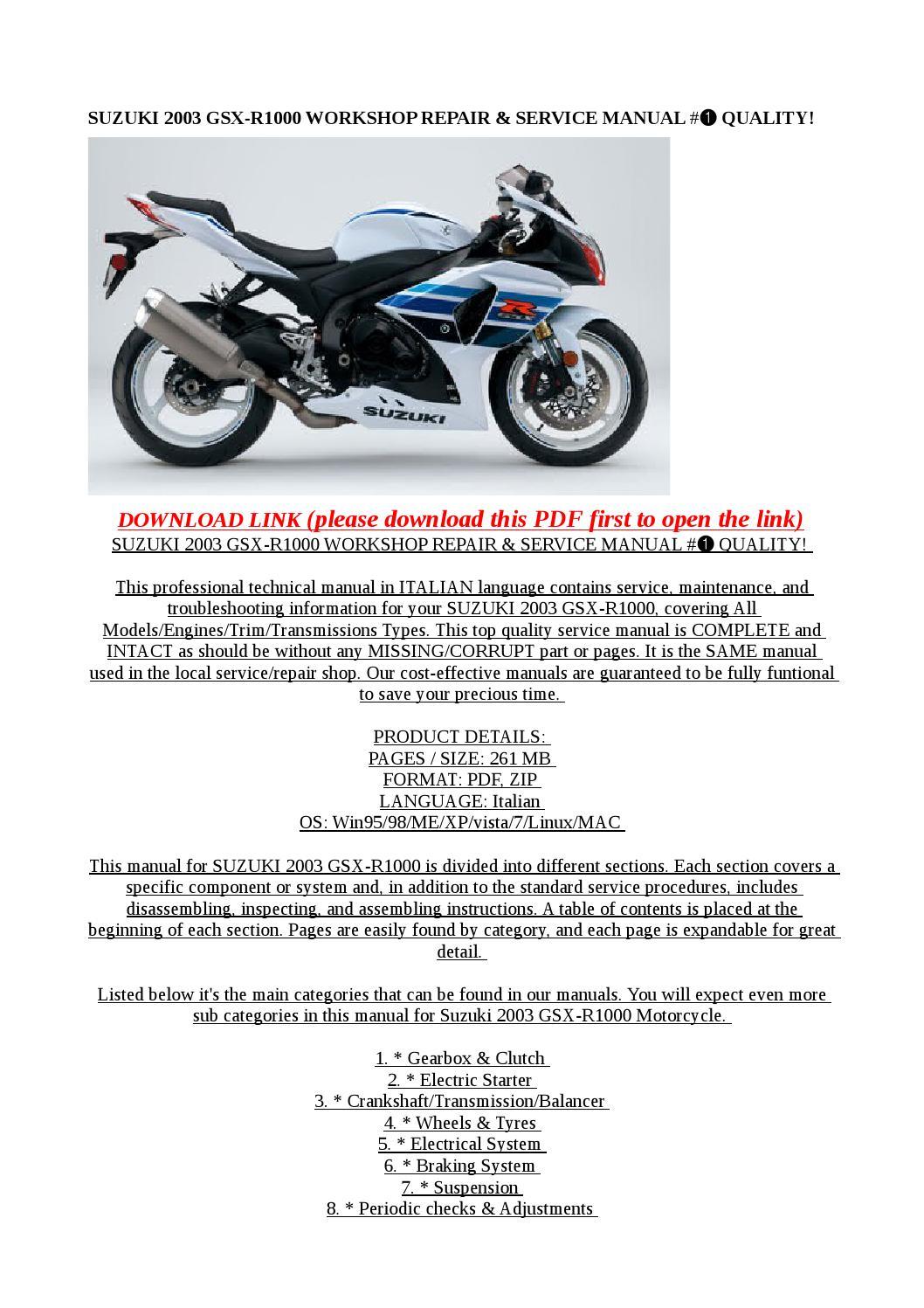 Suzuki 2003 Gsx R1000 Workshop Repair  U0026 Service Manual