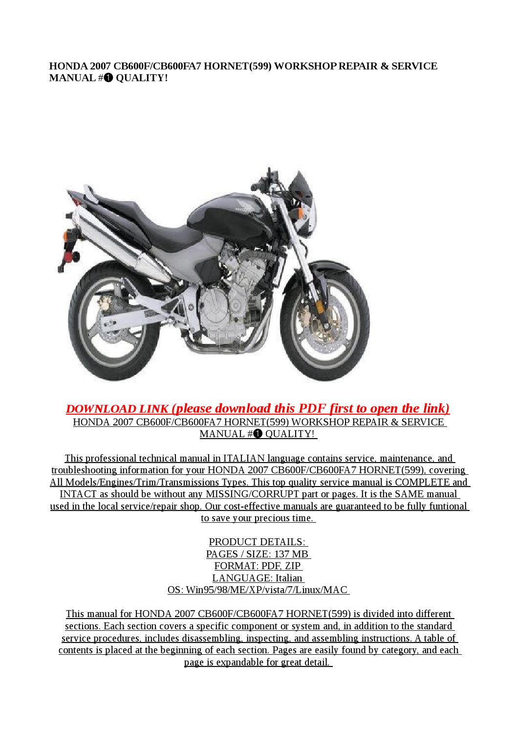 Honda 2007 cb600 cb600fa7 hornet(599) workshop repair & service manual #➀  quality! by Dora tang - issuu