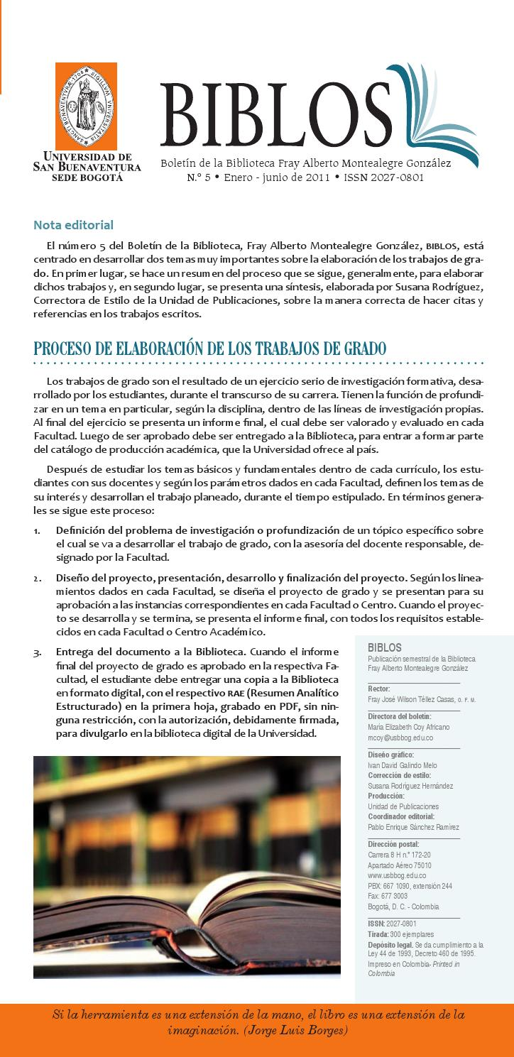 Biblos Número 5 by Fray Alberto Montealegre - issuu