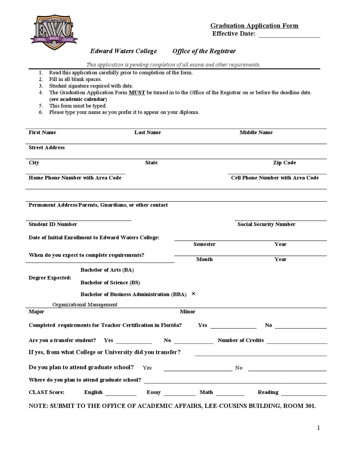 Graduation Application 2014-2015 by Edward Waters College