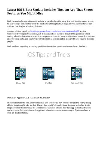 Latest iOS 8 Beta Update Includes Tips, An App That Shows