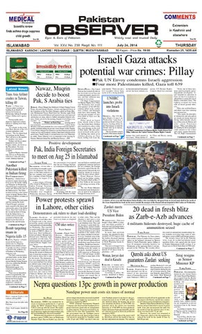 Israeli Gaza attacks potential war crimes: Pillay Pak UN Envoy condemns  Israeli aggression Four more Palestinians killed, Gaza toll 639 Trans Asia  ...