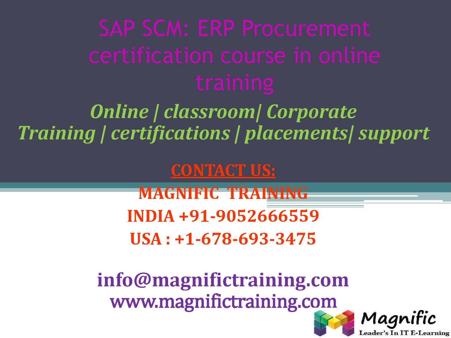 Sap Scm Erp Procurement Certification Course In Online Training By