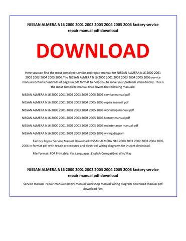 nissan almera n16 2000 2001 2002 2003 2004 2005 2006 service repair rh issuu com almera n16 service manual pdf n16 service manual
