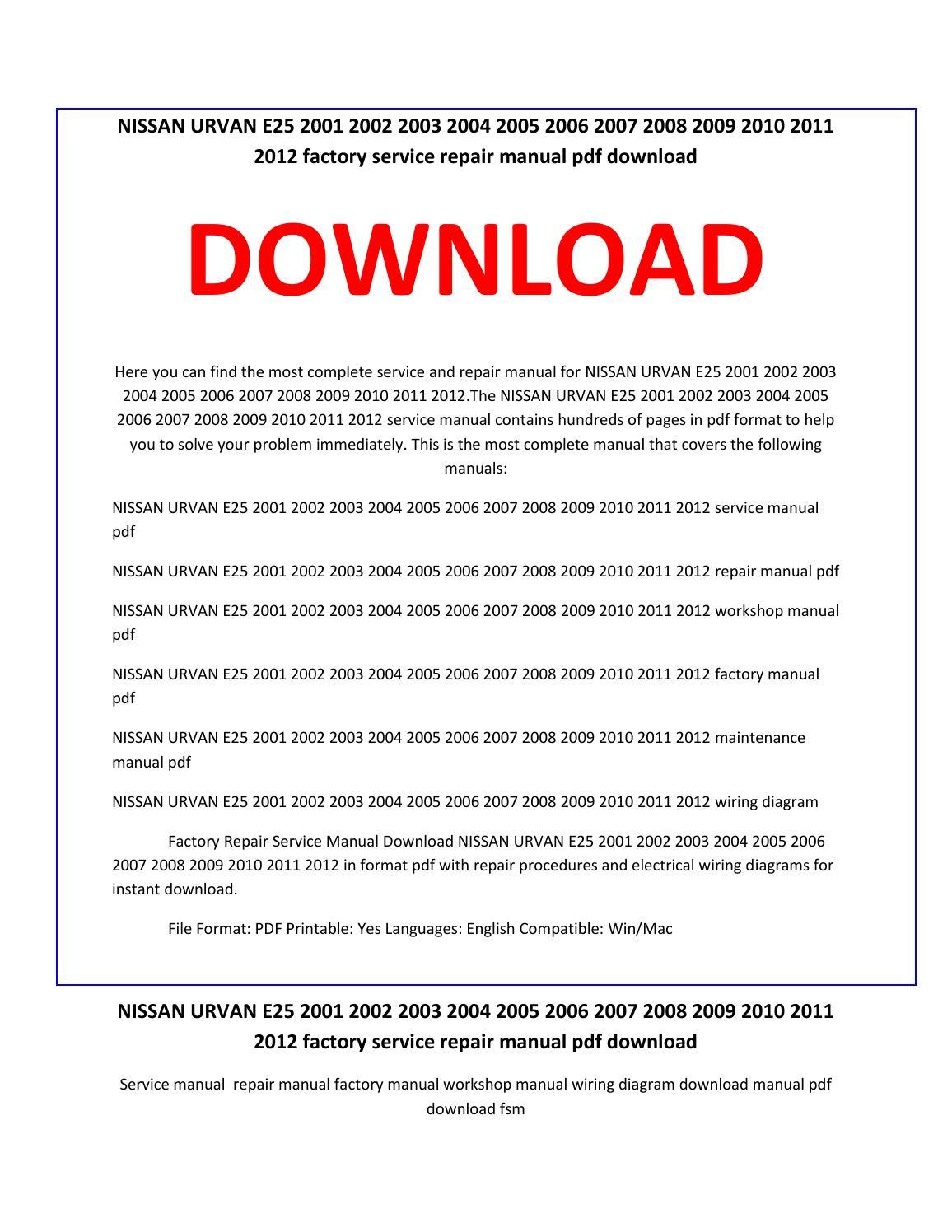 Nissan Caravan E25 Owners Manual