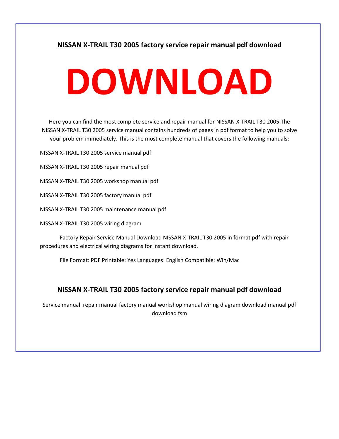 nissan x trail t30 2005 service repair manual