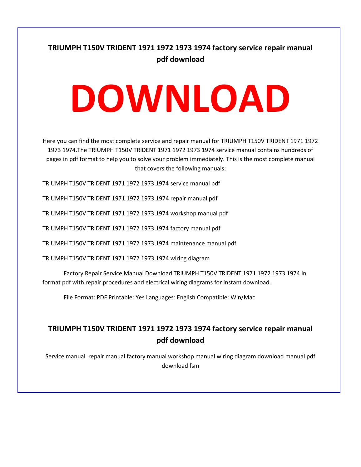 Triumph T150v Trident 1971 1972 1973 1974 Service Repair Manual By Triumph  Bonneville Triumph T150v Wiring Diagram