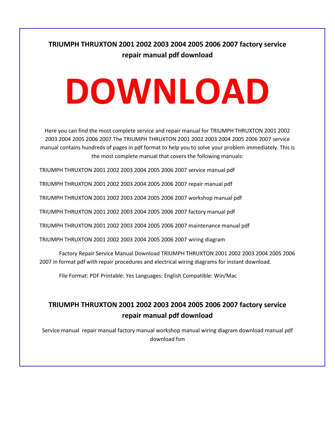 Triumph Thruxton 2001 2002 2003 2004 2005 2006 2007