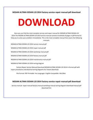 Nissan altima sedan l33 2014 service repair manual by ... on