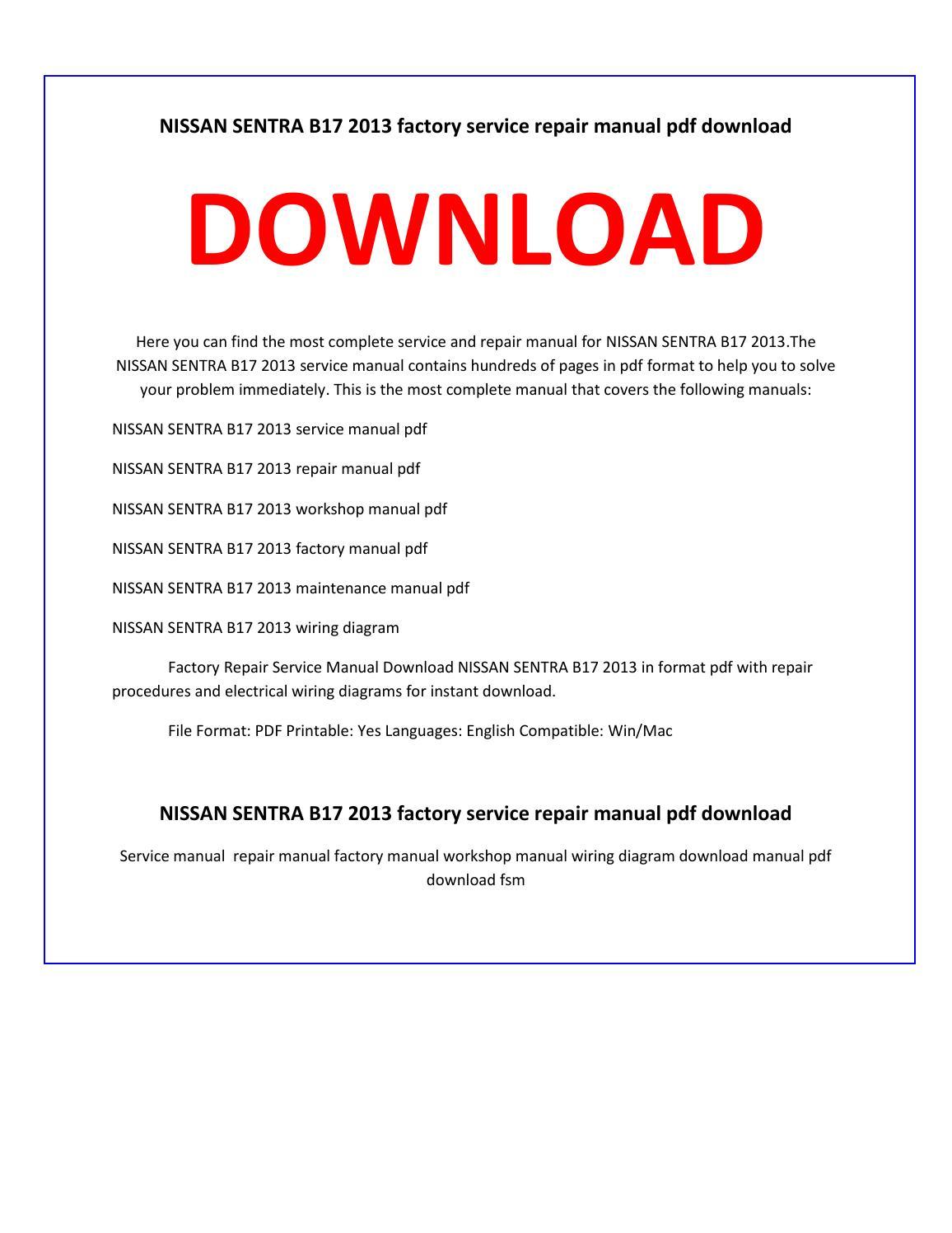 Nissan Sentra Service Manual: Wiring diagram
