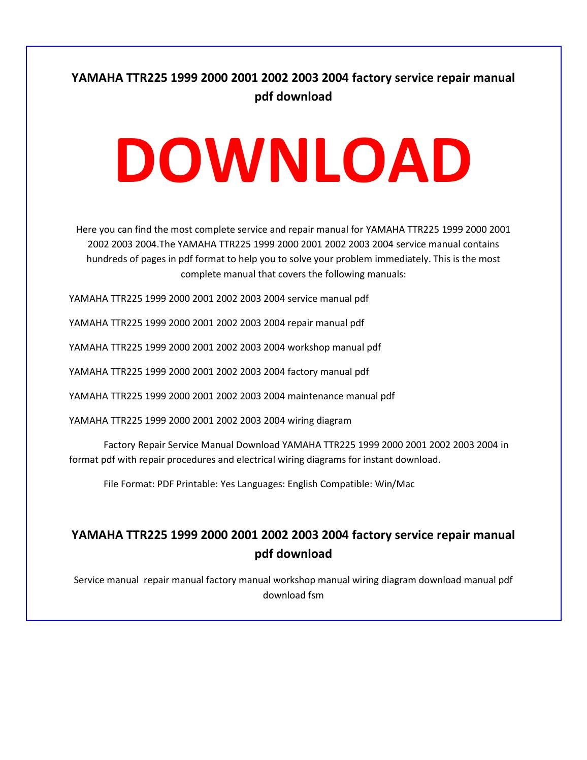 Yamaha ttr225 1999 2000 2001 2002 2003 2004 service repair manual by service  manual - issuu