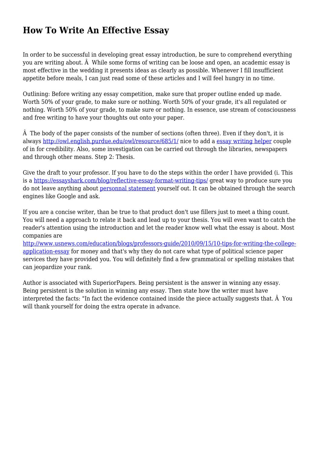 How To Write An Effective Essay by jumpyunderdog9 - issuu