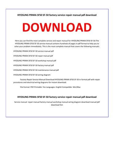 hyosung prima sf50 sf 50 service repair manual by service. Black Bedroom Furniture Sets. Home Design Ideas